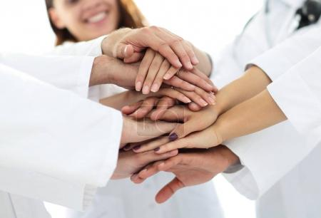 close-up of the medical team shows its unity
