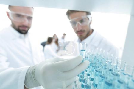 Photo for Closeup. scientist and assistant studying the solution in the tube - Royalty Free Image