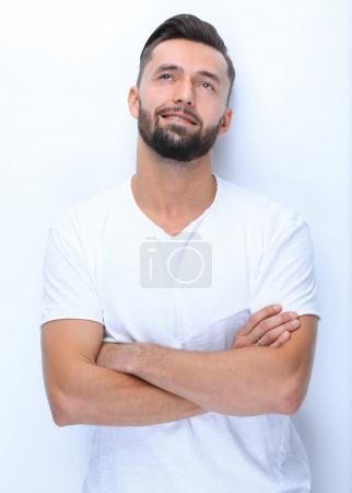 Photo pour Close seup.dreams d'un jeune homme .isolated sur blanc - image libre de droit