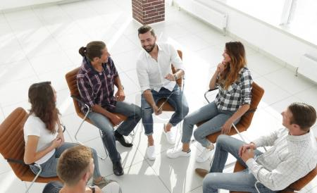Photo for Business team holds a meeting in the lobby of the office.the concept of teamwork - Royalty Free Image