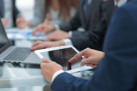 Photo for Image of business partners discussing documents and ideas at meeting. - Royalty Free Image