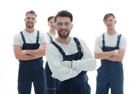 Photo pour Patron et l'équipe de travailleurs industriels professionnels.isolé sur blanc - image libre de droit