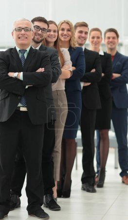 group of business people standing up for each other.