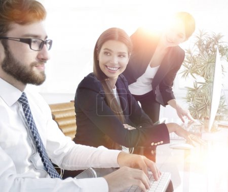 Photo for Closeup. business team discussing,sitting at your Desk - Royalty Free Image