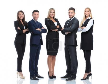 Photo pour Portrait complet d'un groupe de gens d'affaires, isolés sur du blanc. Concept de travail d'équipe et de coopération - image libre de droit