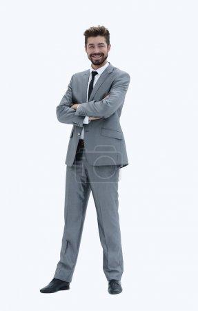 Homme d'affaires prospère confiant en costume gris sur blanc backgroun