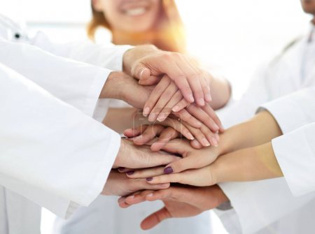 Photo for Close-up of the medical team shows its unity.concept of mutual aid. - Royalty Free Image