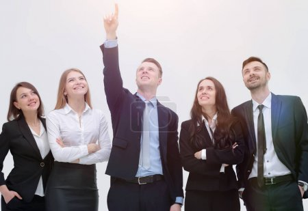 Photo pour Concept de purpose.the leader indique l'objectif de l'équipe d'affaires - image libre de droit