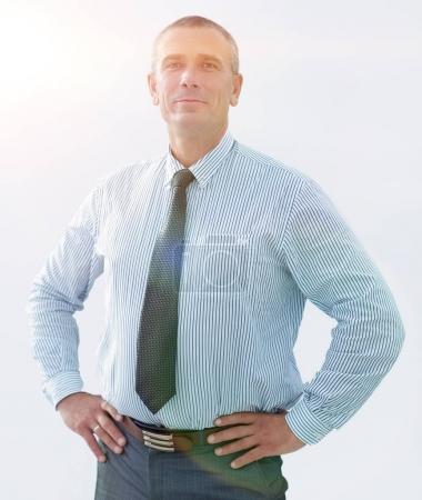 closeup portrait of confident businessman in shirt and tie