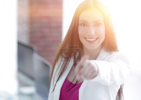 business lady pointing to the front