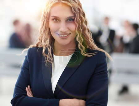 portrait of successful business woman on the background of the o