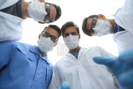 closeup. a group of doctors surgeons