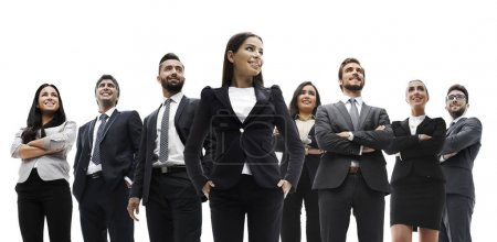 Photo for Portrait of friendly business team standing in isolation - Royalty Free Image