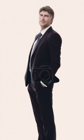 side view. Portrait of successful businessman