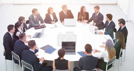 meeting business partners in the conference room.