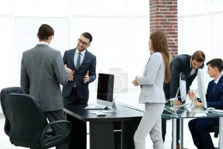 Photo for Confident business partners carrying out presentation of business plan to manager - Royalty Free Image