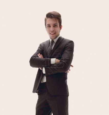 Photo pour Bas view.successful jeune homme d'affaires.isolé sur un fond clair - image libre de droit