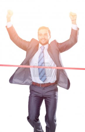 Photo pour Le concept de victoire. homme d'affaires jubilatoire - image libre de droit