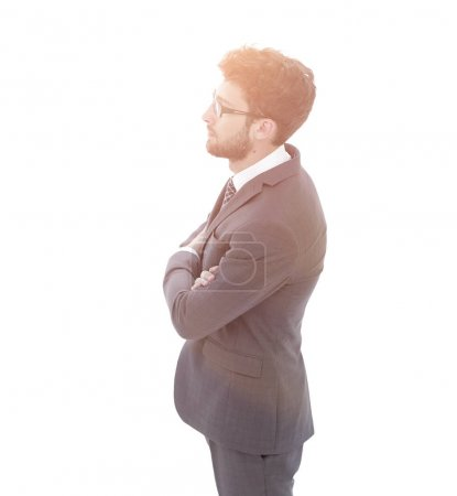 successful businessman looking forward. side view