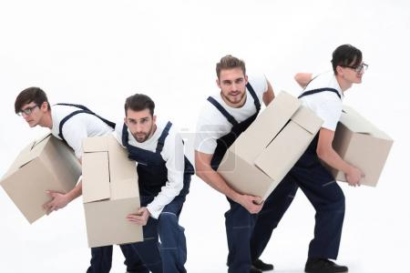 Movers in a hurry to do their job.