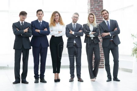 Photo for Portrait of a professional business team on blurred background office - Royalty Free Image