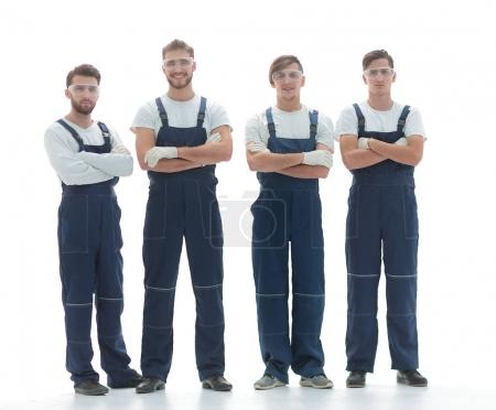 professional team of industrial workers