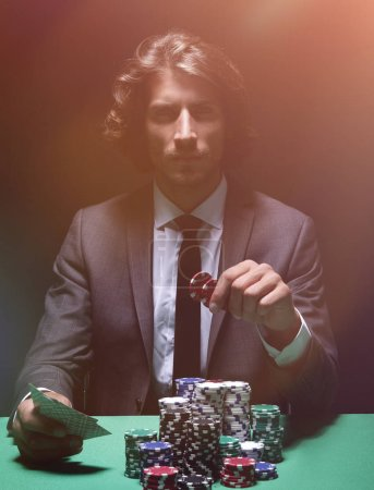 The poker player in a casino