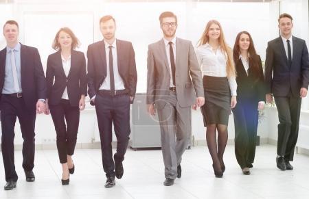 bottom view. business team walking forward
