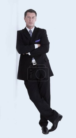 Full length of  successful manager smiling isolated on white