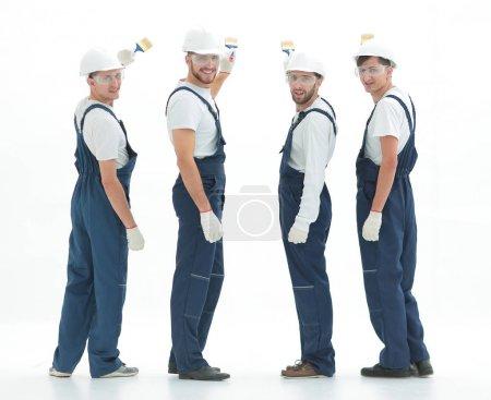 Photo pour Équipe de travailleurs de la construction professionnels.isolé sur white.photo avec espace de copie - image libre de droit