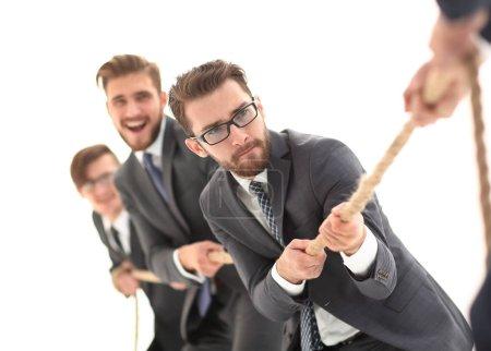 tug of war between confident business teams.
