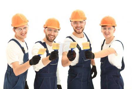 Photo pour Close seup.portrait de l'équipe de travailleurs de la construction .photo avec espace de copie - image libre de droit