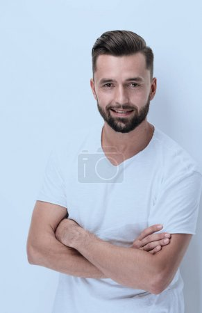 Photo for Closeup.smiling young man .isolated on white - Royalty Free Image