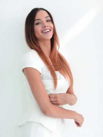 Happy business woman smiling - isolated over a white background