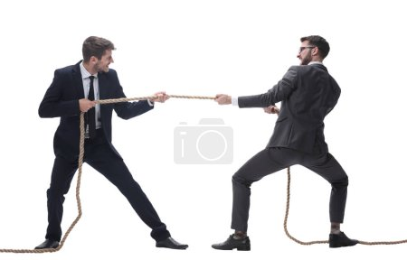 Photo for Full length . two smiling businessmen pulling the rope. isolated on white background. - Royalty Free Image