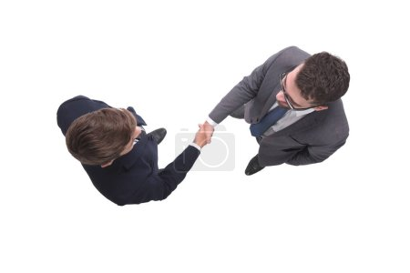 Photo for Top view. business people shaking hands. isolated on white background - Royalty Free Image