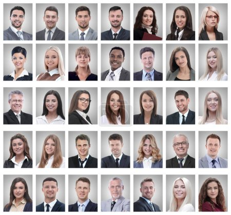 Photo for Collage of portraits of successful young businessmen isolated on white background - Royalty Free Image