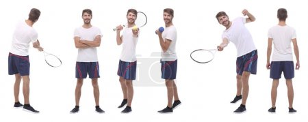 Photo for Panoramic collage of male handyman isolated on white background. - Royalty Free Image