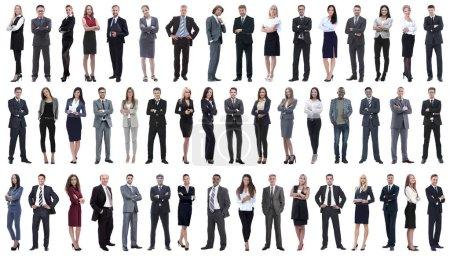 Photo pour Collage d'une variété de gens d'affaires debout dans une rangée. isolé sur fond blanc  . - image libre de droit