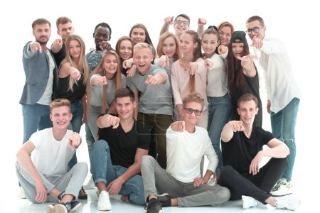 Photo for Large group of young people pointing at you. isolated on white background - Royalty Free Image