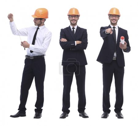 Photo for In full growth .successful architect engineer in orange helmet. photo collage - Royalty Free Image