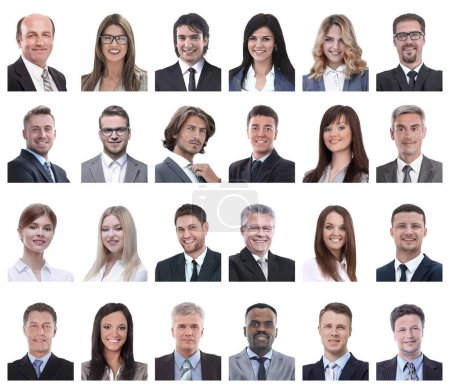 Photo for Collage of portraits of business people isolated on white background - Royalty Free Image