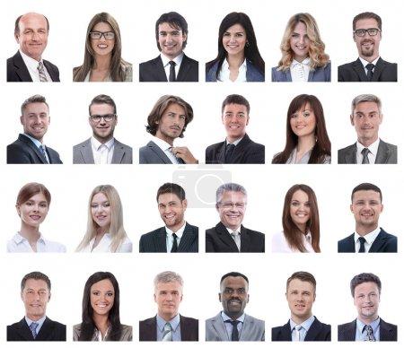 Photo pour Collage de portraits de gens d'affaires isolés sur fond blanc - image libre de droit