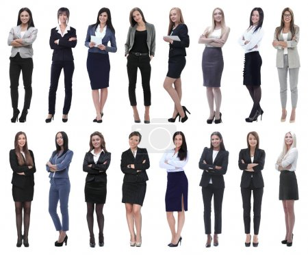 Photo for In full growth.collage of a group of successful young business women. isolated on white background - Royalty Free Image