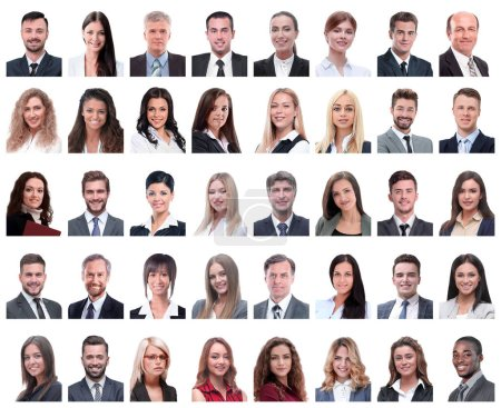 Photo pour Collage de portraits d'employés à succès isolés sur fond blanc - image libre de droit