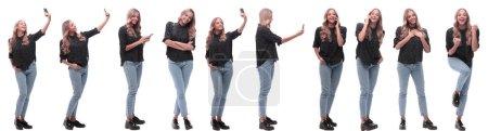 Photo pour Collage photo d'une jeune femme moderne avec un smartphone. isolé sur un fond blanc - image libre de droit