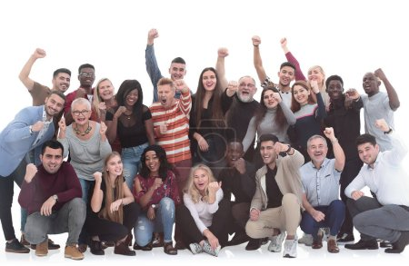 Photo for Cheerful diversity group of people with hands raised. Success concept - Royalty Free Image