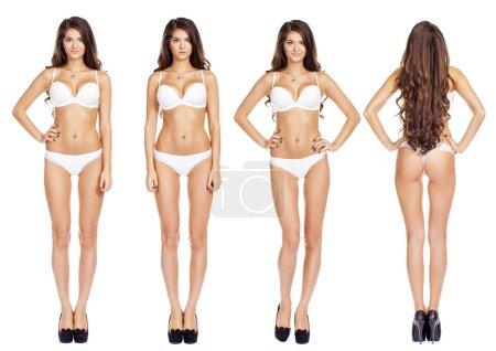 Full length beautiful slim tanned women in white bikini
