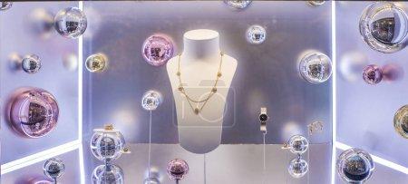 Showcase with jewelry