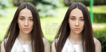Before and after, retouched picture